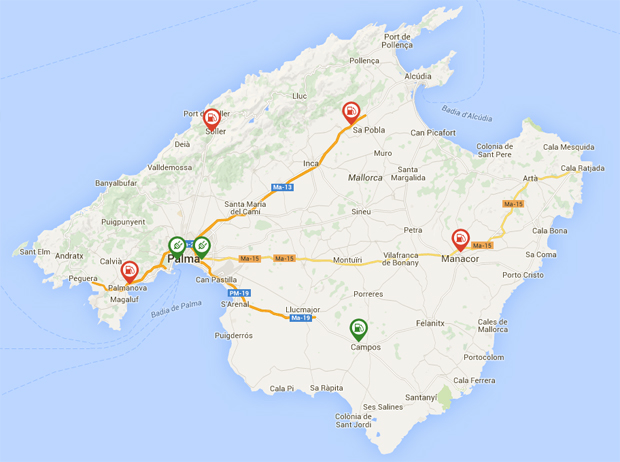 Well distributed: Mallorca's DC chargers are well placed for trips from all corners of the island. There are six Endesa rapid-chargers, and one from ChargeNow at the yacht club in Palma.