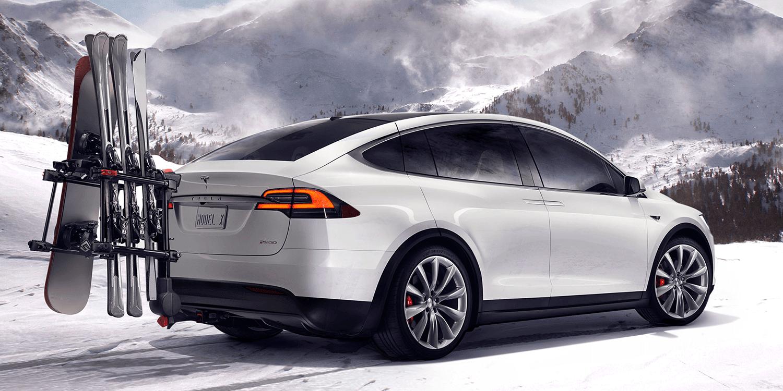 Tesla Model X Electric Car Winter