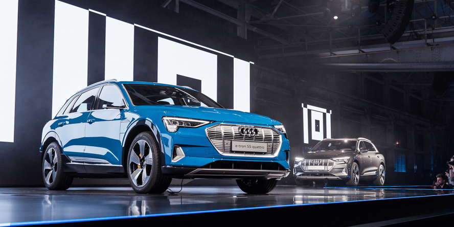 audi presents their first electric car e-tron in california