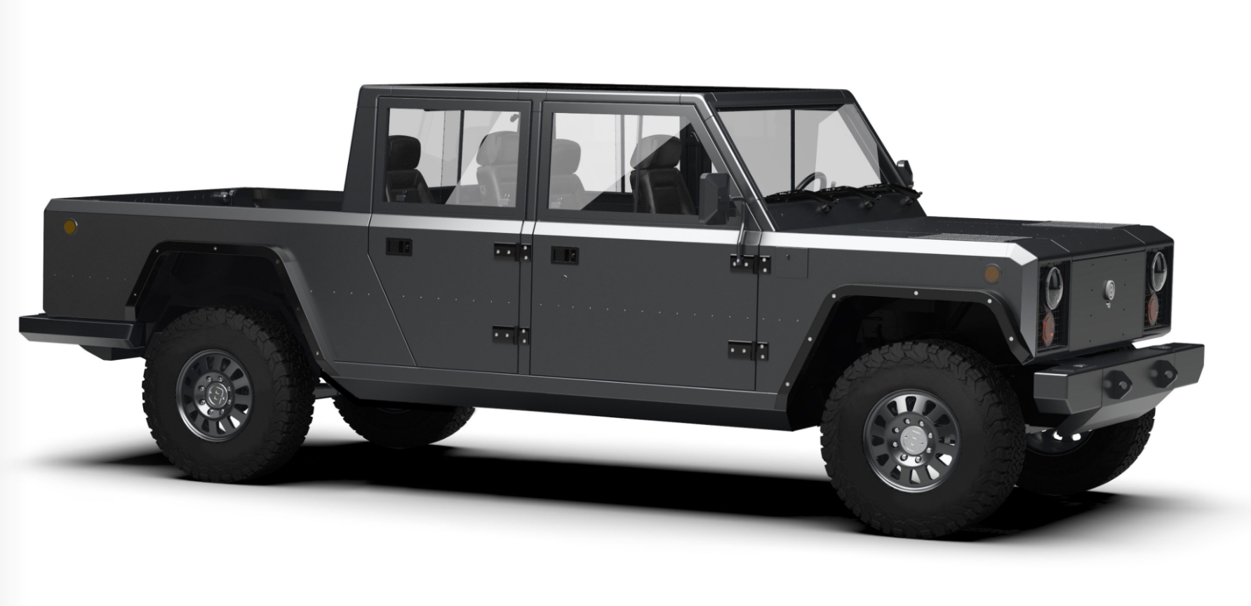 Following Its Electric Off Road Vehicle B1 The Us Company Bollinger Motors Now Presents B2 A Fully Pickup Truck With An Open Loading Area